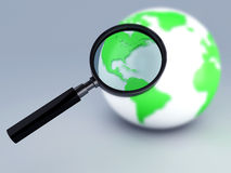 Green world and a magnifying glass 3d. Image of Earth with magnifying glass 3d illustration Royalty Free Stock Photos