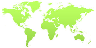 Green world map. Illustrations of the world map with all the countries visible. In green color stock illustration