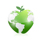 Green world map apple illustration design Stock Photos