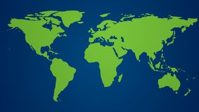 Green world map and blue oceans. World Environment day. Eco poster or eco banner. Vector illustration.  Stock Images