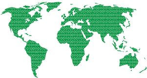 Green world map. Isolated on the white background Royalty Free Stock Photo