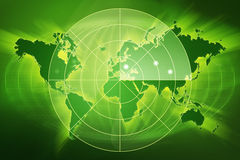 Green world map radar Stock Image