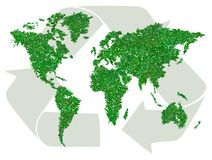 Green world map with sign of recycling Royalty Free Stock Photo
