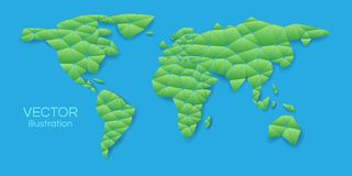 Green world map in a triangular shape on a blue background. Vecto stock illustration