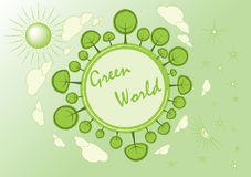 Green world. Green planet Earth concept. Sustainable green living around the globe Stock Images