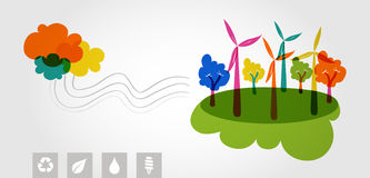 Green world renewable resources colorful trees. Royalty Free Stock Images