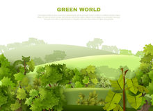 Green World Undulating Landscape  Eco Poster. Green world ecological organisation poster with undulating landscape tropical garden style with misty background Stock Images