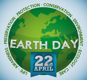 Green World with Values Around of Earth Day Celebration, Vector Illustration Stock Photos