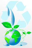 Green World - Water recycling. Green World - Water drops and recycling symbol Royalty Free Stock Photography