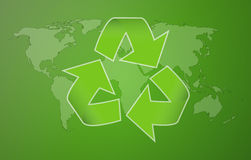 Green worldmap with symbol of recycling Stock Images