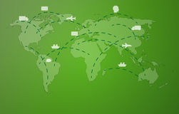 Green worldmap with symbols Royalty Free Stock Photo