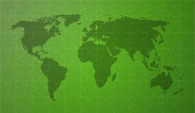 Green worldmap. World map with continents on green background covered by puzzle pieces Royalty Free Stock Photography