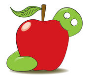 Green worm eating apple. A green worm illustration eating a red apple Stock Photos