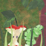 Green worm has eaten red apple. An apple fall from the tree was gnawed off by a green worm Royalty Free Stock Photos