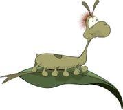 Green Worm On A Leaf. Cartoon Stock Photos