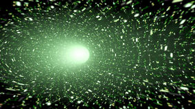 Green wormhole with sparkles. An image of a wormhole with green sparkles and glitter texture. At the end of the cosmic tunnel you see a bright white light stock illustration