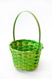 Green woven basket on the white background Stock Photography