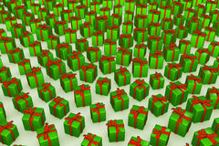 Green Wrapped Gift Background Stock Photos