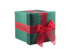 Green Wrapped Gift with Red Bow Stock Photos