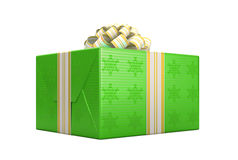 Green wrapped present or gift box Royalty Free Stock Photography