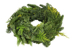 Green wreath. Green christmas wreath isolated over white background stock images