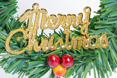 Green Wreath With Merry Christmas Plate. Royalty Free Stock Photos