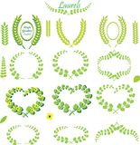 Green Wreath and Straight Leaf Laurels and Florals stock photography