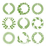 Green wreaths isolated on white background Stock Image