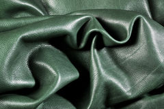 Green wrinkled leather. Close up Royalty Free Stock Image