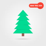 Green xmas tree icon with shadow Royalty Free Stock Images