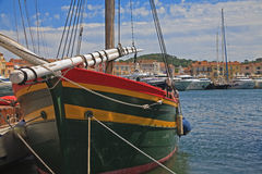 Green yaht in st tropez harbor Stock Photos