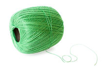 Green yarn ball isolated on white. Background Royalty Free Stock Photo