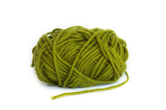 Green yarn ball. With white background Stock Image
