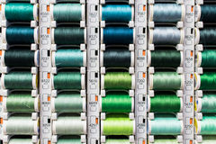 Green yarn. Colored spools of sewing thread Stock Images
