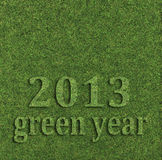 2013 green year. Text over grass bacround Royalty Free Stock Images