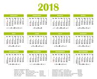 2018 Green eco friendly yearly calendar. 2018 Green yearly calendar. Federal holidays, moon and numbers of weeks Stock Photography