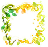 Green and yellow abstract wave with leaf Stock Photo
