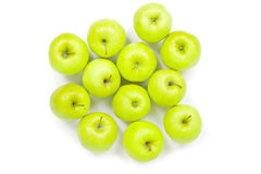 Green and yellow apples on a white baclground Stock Image