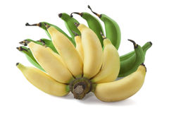 Green and yellow banana. Bunch of green and yellow banana isolated on white background Royalty Free Stock Image
