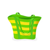 Green-and-yellow beach bag Stock Photo