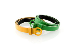 Green and yellow belt. Isolated on white background Stock Image