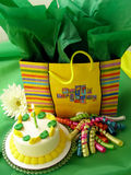Green and Yellow Birthday. Birthday items with a green and yellow theme - good for non-gender specific celebration Royalty Free Stock Photo