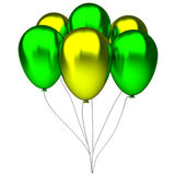 Green and yellow birthday balloons Stock Photo