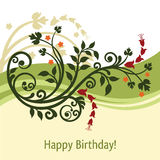 Green and yellow birthday card. Beautiful green and yellow floral birthday card. This image is a vector illustration Stock Photos