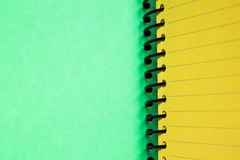 Green and yellow blank notebook. Background and texture of Green and yellow blank notebook Stock Images