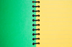 Green and yellow blank notebook. Background and texture of Green and yellow blank notebook Stock Photos