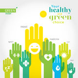Green, yellow and blue hands with symbols of healthy lifestyle, food, sport. Royalty Free Stock Photos