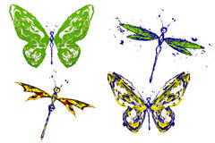 Green yellow blue painted butterflies and dragonflies. Set vector illustration