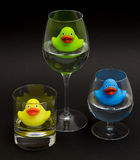 Green, yellow and blue rubber duck Royalty Free Stock Photography