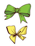 Green and yellow bows. Illustration stock illustration